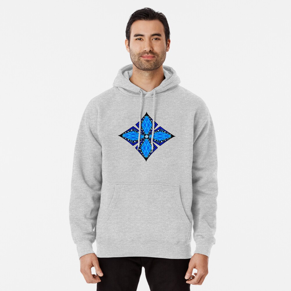 Onyx Beams of Flowers and Gems Pullover Hoodie