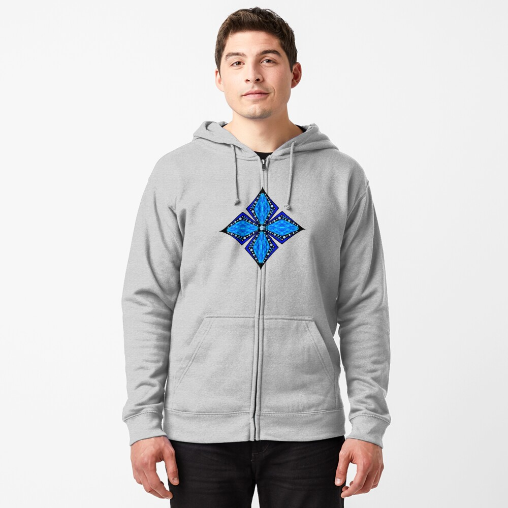 Onyx Beams of Flowers and Gems Zipped Hoodie