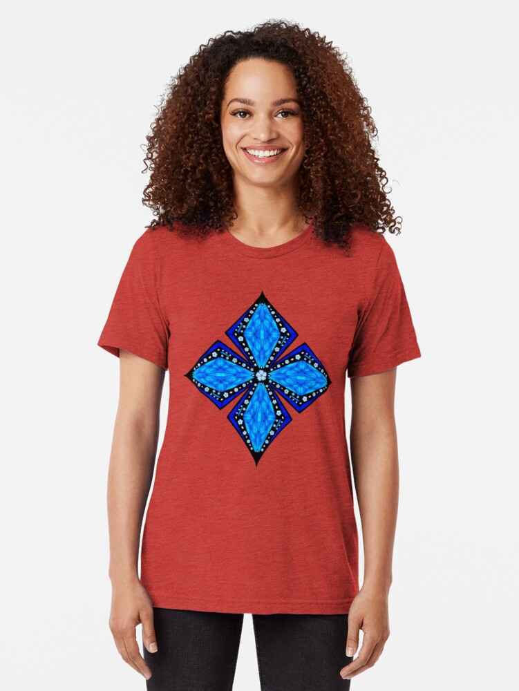 Alternate view of Onyx Beams of Flowers and Gems Tri-blend T-Shirt