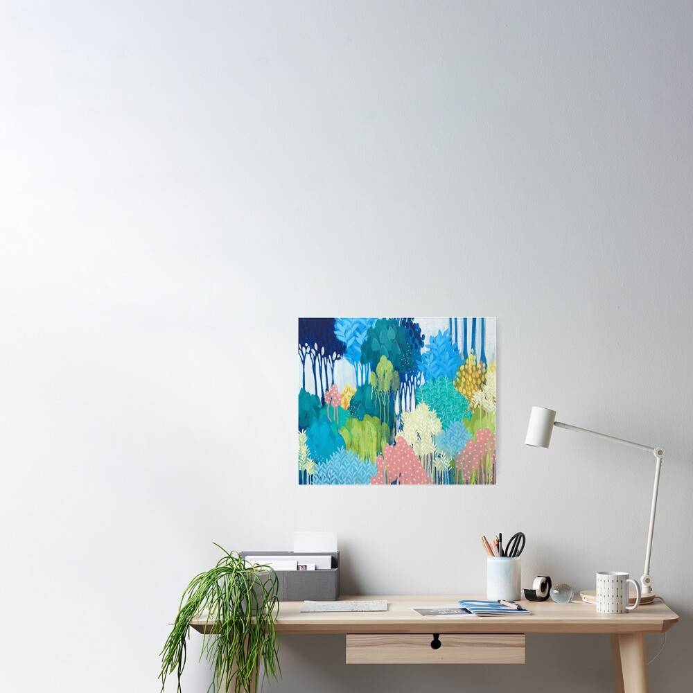Blue Souring abstract art Poster
