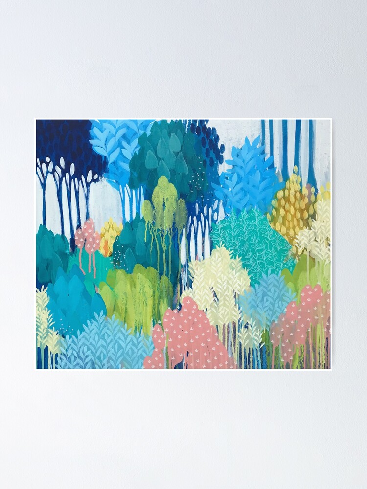 Alternate view of Blue Souring abstract art Poster