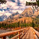 Across Bridge to Teton Mountains by KellyHeaton