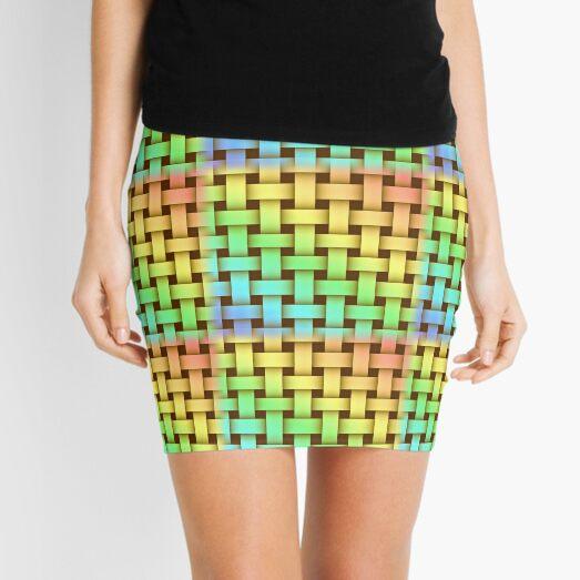 Basketweave Pattern In Pastel Rainbow Colors Mini Skirt