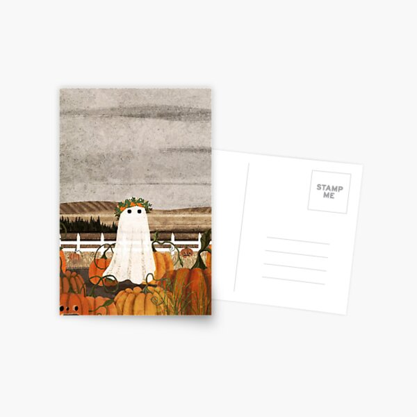 There's a Ghost in the Pumpkins Patch Again... Postcard