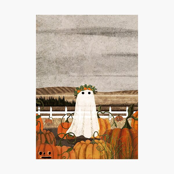 There's a Ghost in the Pumpkins Patch Again... Photographic Print
