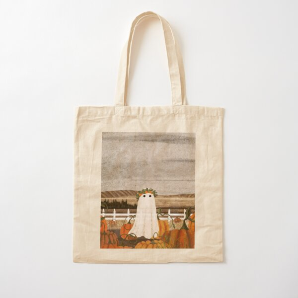 There's a Ghost in the Pumpkins Patch Again... Cotton Tote Bag