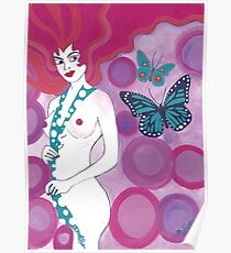 Pink Lady With Butterflies Poster