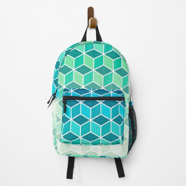 Teal Biscay Cubes Fade Backpack