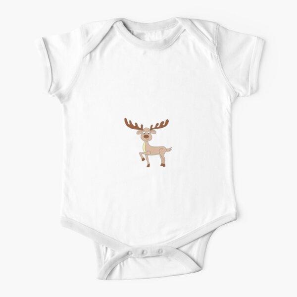 Cute Deer Digital Design Short Sleeve Baby One-Piece