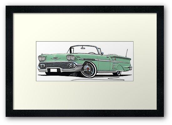 Chevrolet Bel Air Impala Convertible (1958) Light Green by Richard Yeomans
