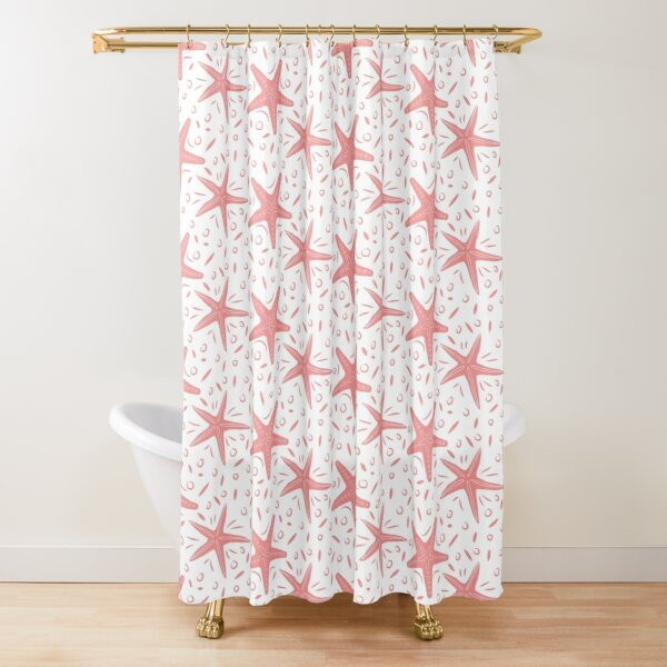 Coral Starfish Pattern | Nautical Summer Print Shower Curtain