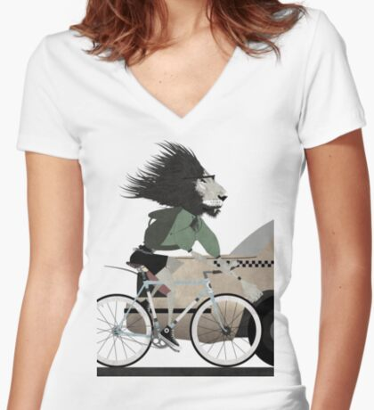 Alleycat Race Women's Fitted V-Neck T-Shirt
