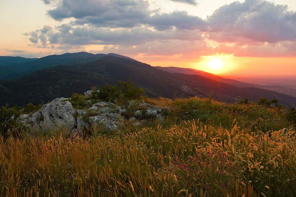 Colorful Sunset over the Mountain slope by kirilart
