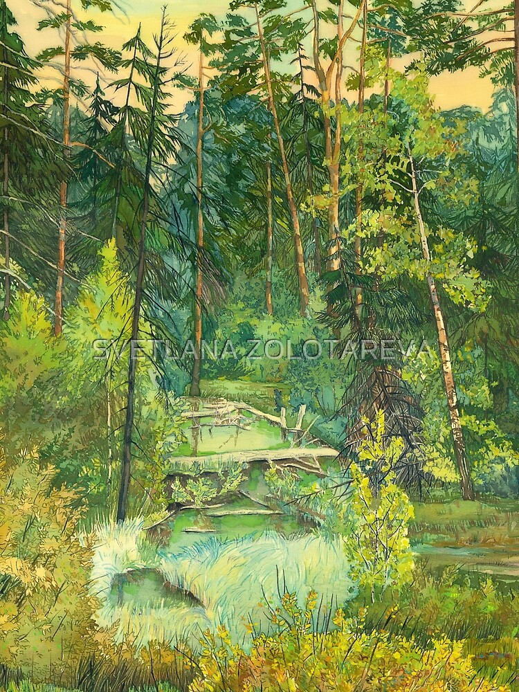 Forest paintingwatercolor by SVZOLOTAREVA