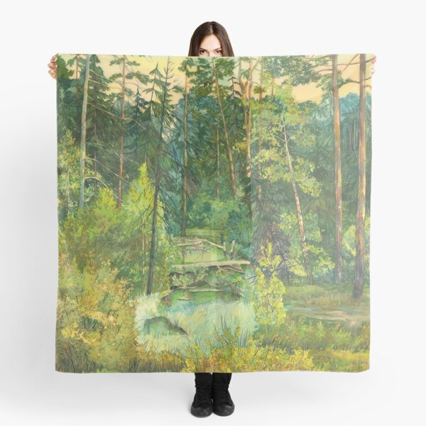 Forest paintingwatercolor Scarf