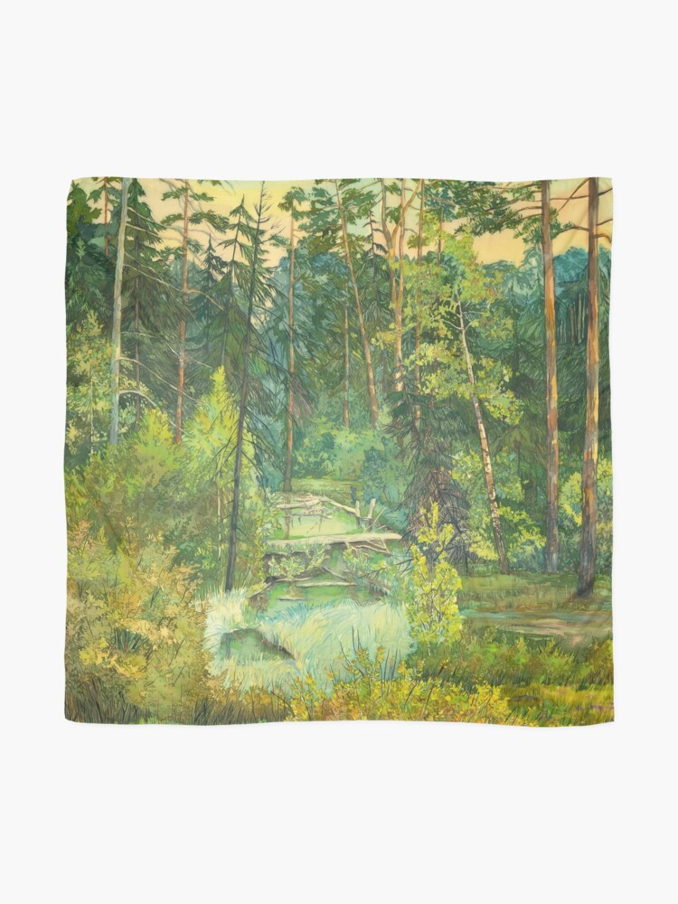 Alternate view of Forest paintingwatercolor Scarf