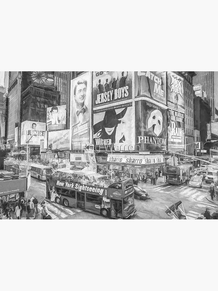 Times Square II (black & white pen and ink sketch) by RayW