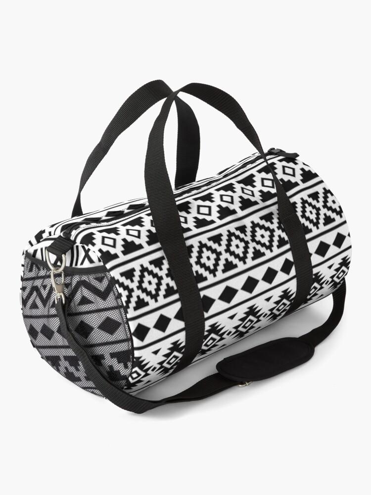 Alternate view of Aztec Essence Pattern Black on White Duffle Bag