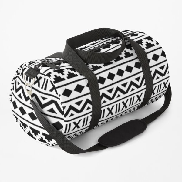 Aztec Essence Pattern Black on White Duffle Bag