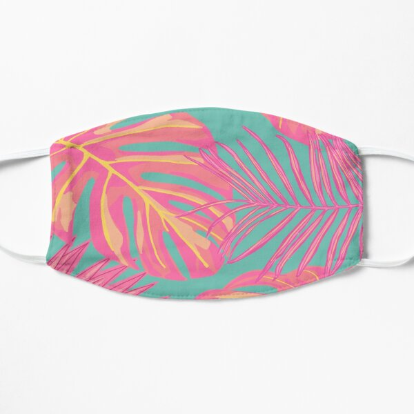 Tropical Leaves in Pink and Turquoise  Flat Mask