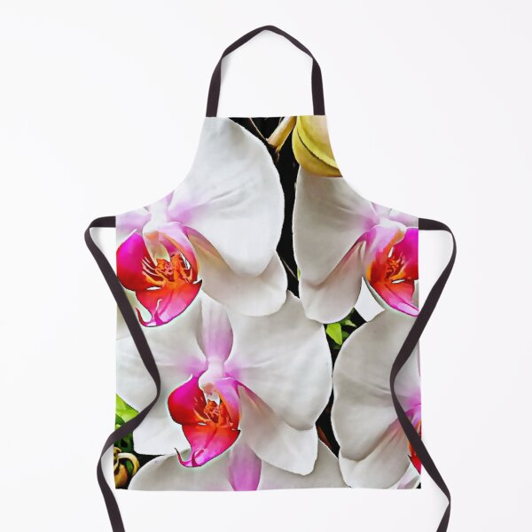 White Orchid Pattern 3 Apron