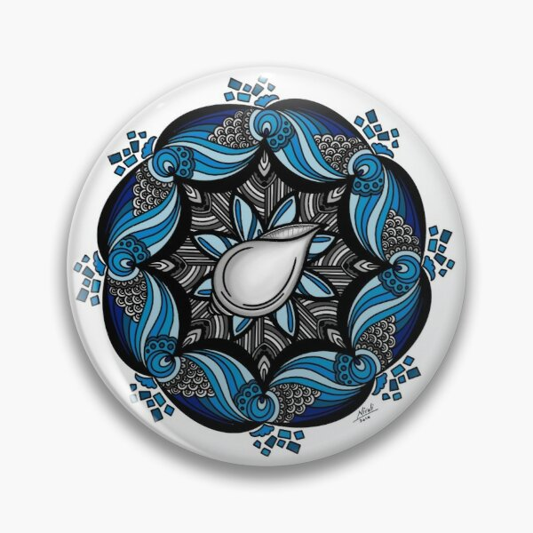 Conch with Blue Water Mandala Design  Pin