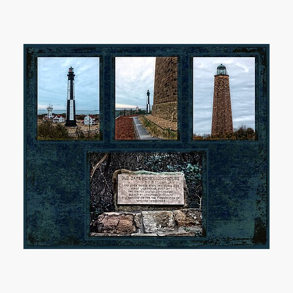 Cape Henry Lighthouses - Old and New Photographic Print