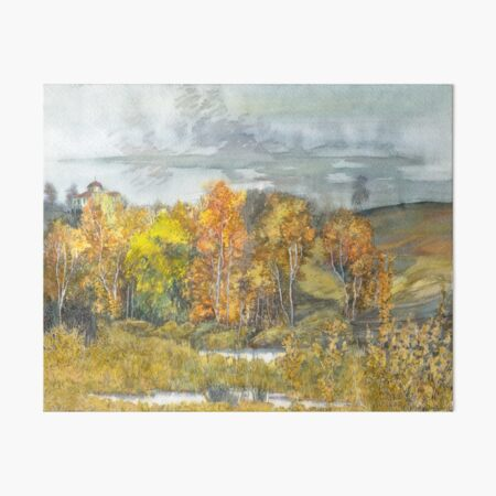 Autumn  painting watercolor  Art Board Print