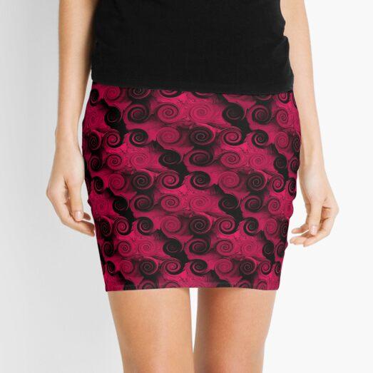 Fuchsia And Black Abstract Swirls Mini Skirt