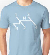 old school shift diagram in white.  Unisex T-Shirt