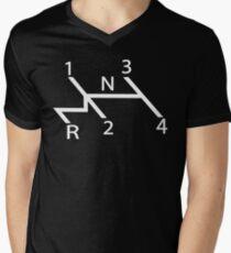 old school shift diagram in white.  Men's V-Neck T-Shirt