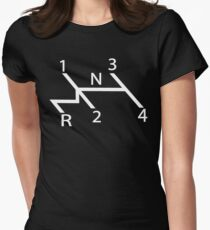 old school shift diagram in white.  Women's Fitted T-Shirt
