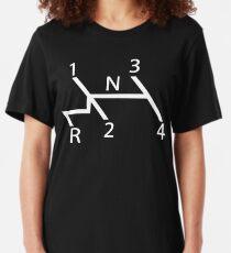 Camiseta ajustada diagrama de cambio de la vieja escuela en blanco.