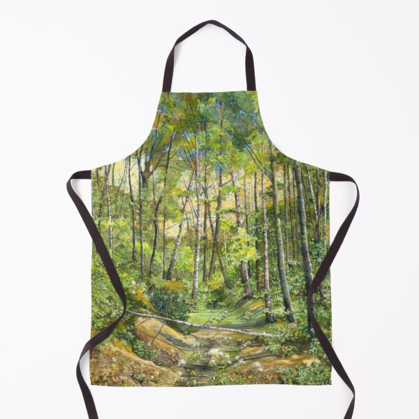 grove painting  watercolor painting on silk  Apron