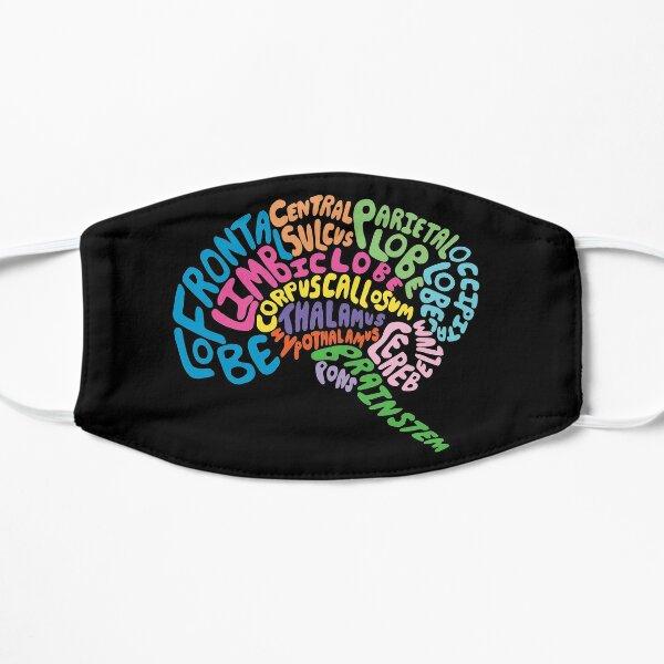 Human Brain Anatomy using Typography Flat Mask