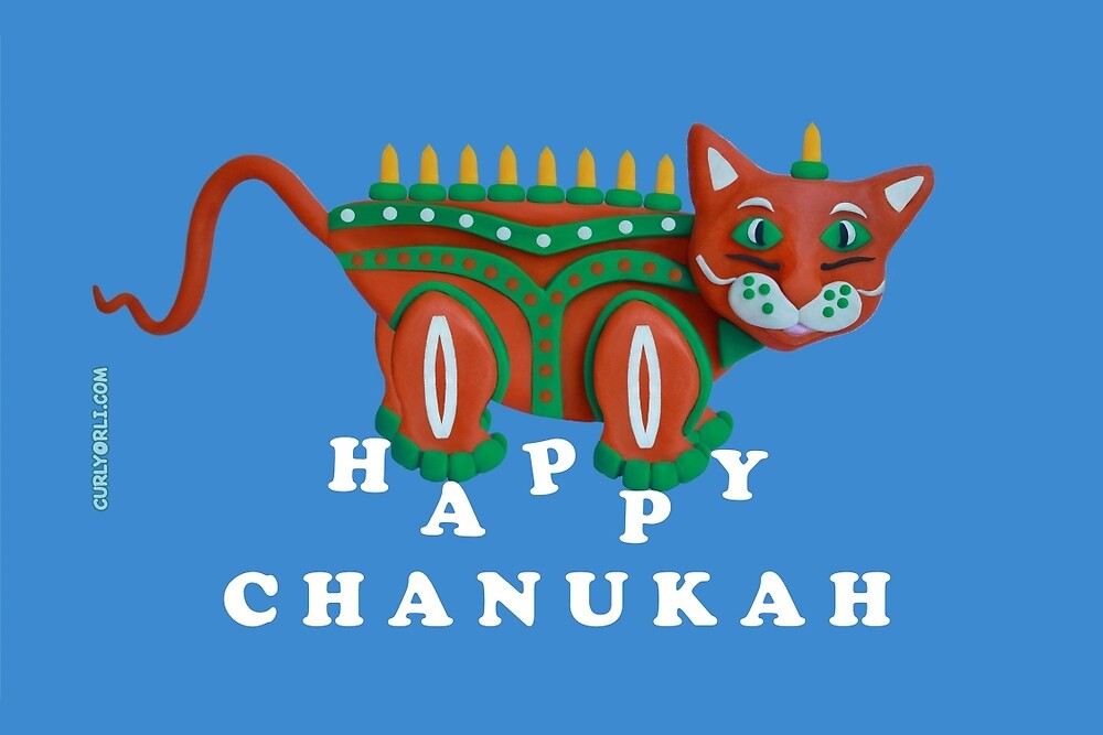 Chanukiah – Meowukiah Greeting Card by curlyorli
