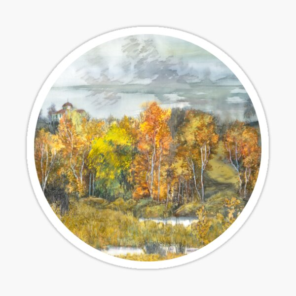 Autumn painting watercolor  Sticker