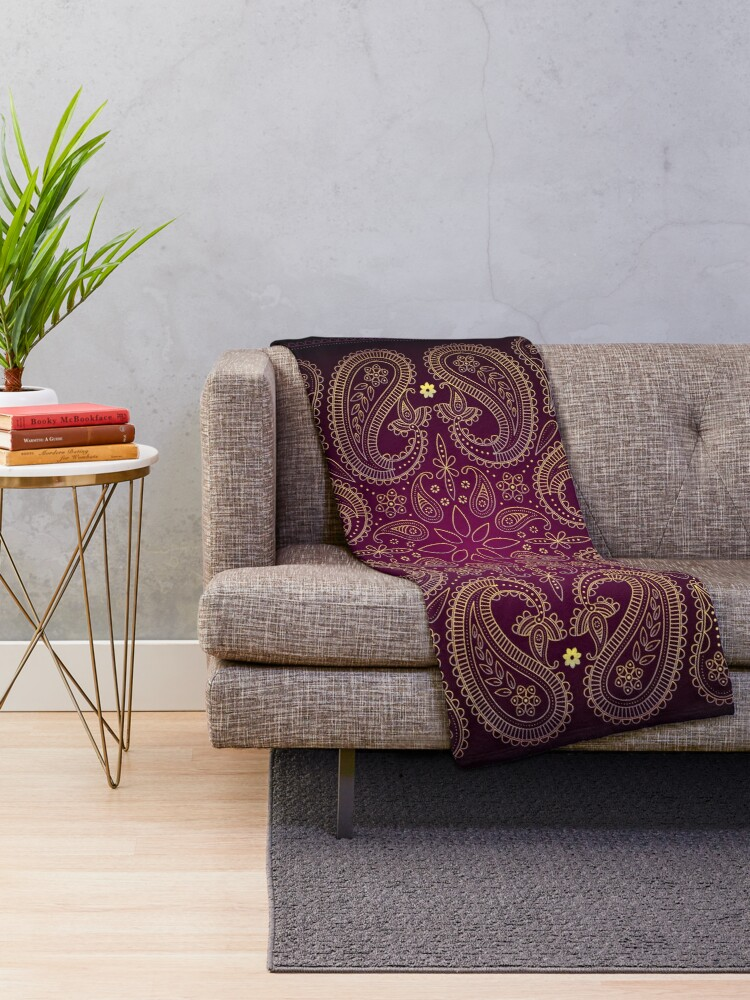 Alternate view of Paisley Eclectic Spiritual Mandala Pattern Throw Blanket