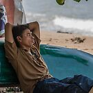 Fisherman Resting On Beach, Sanur, Bali by Vince Russell