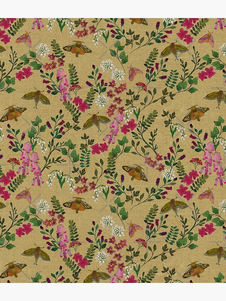 Underworld Garden Moths Flowers Linen by ceciliamok