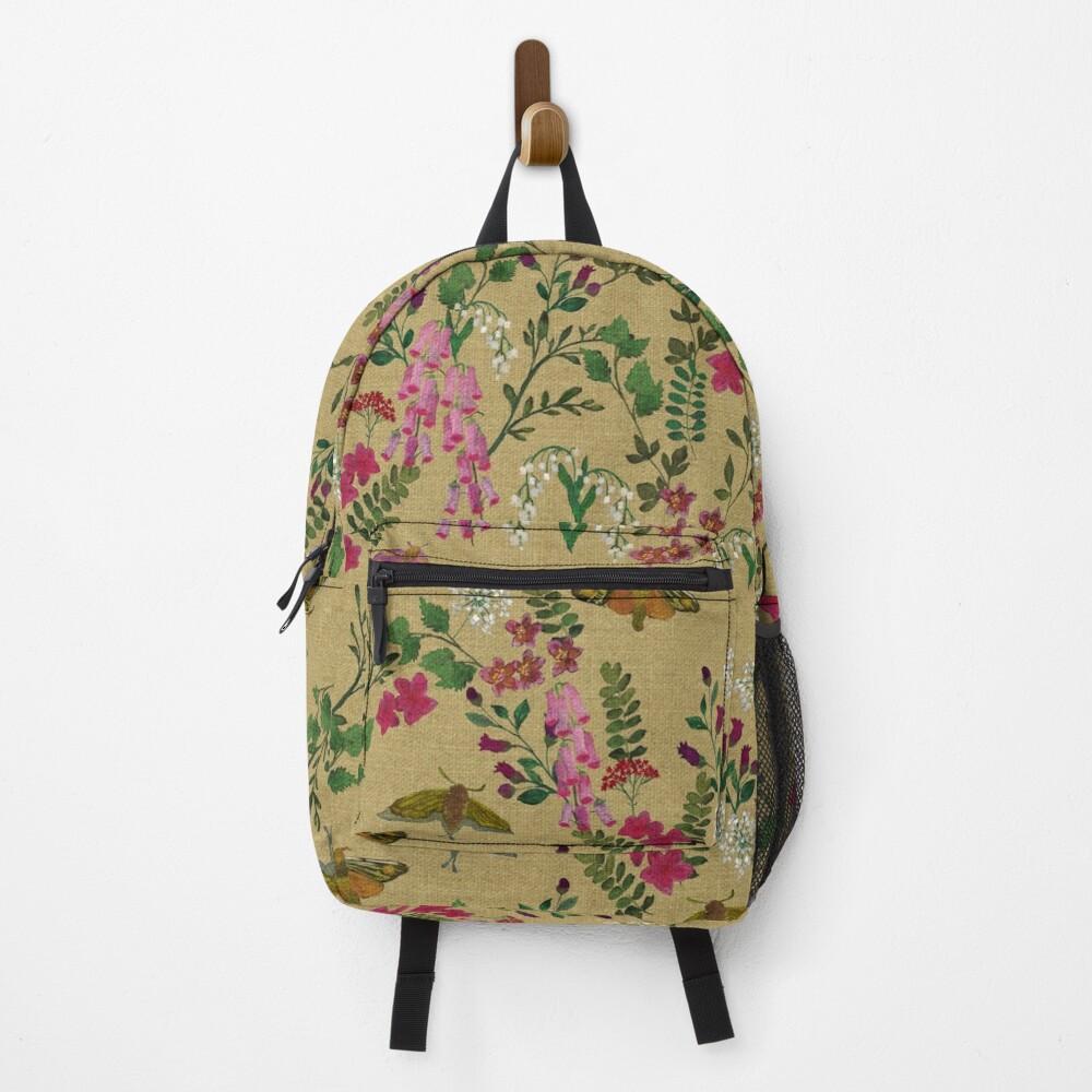 Underworld Garden Moths Flowers Linen Backpack