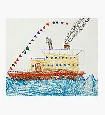 Kid's Drawing of a Passenger Ship in The Sea Photographic Print