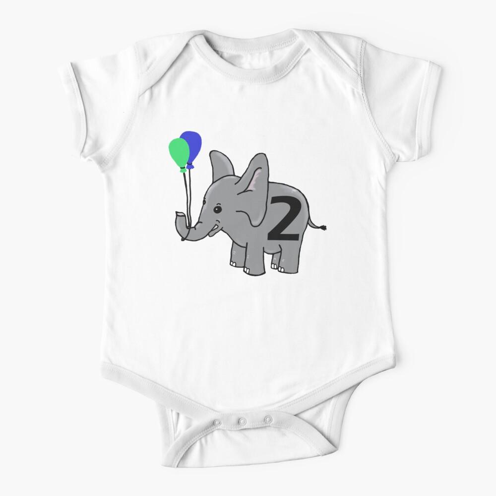 Elephant 12 Birthday One-piece,Baby Elephant,Long or Short Sleeve For Boy or Girl Elephant Half Birthday,One Half Birthday