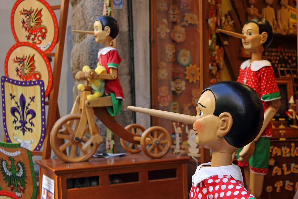 Pinocchio inviting tourists in souvenirs shop by kirilart