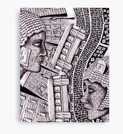 City Love surreal ink pen and colored pencils drawing Canvas Print