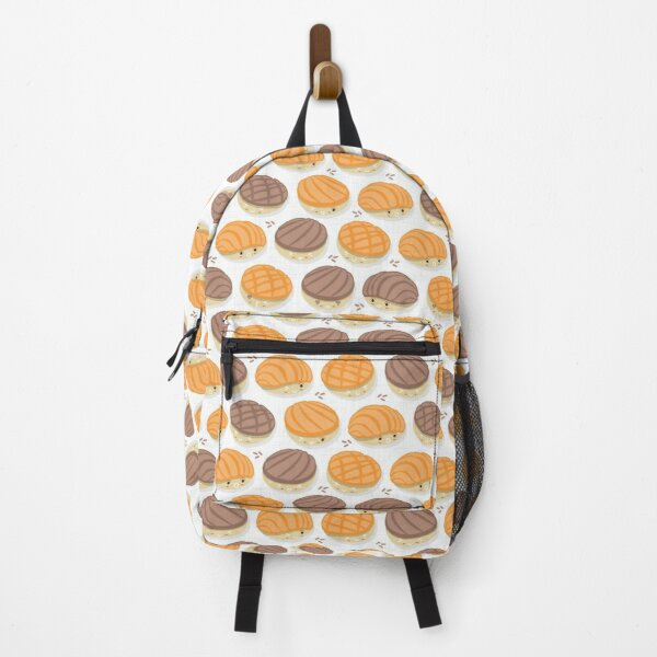 Kawaii Mexican conchas // white background orange and brown pan dulce Backpack