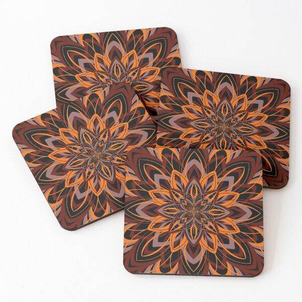 Orange and dark brown mandala Coasters (Set of 4)