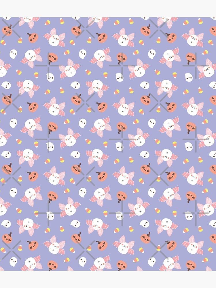 Pastel Kawaii Halloween Bat Pattern  by Miri-Noristudio