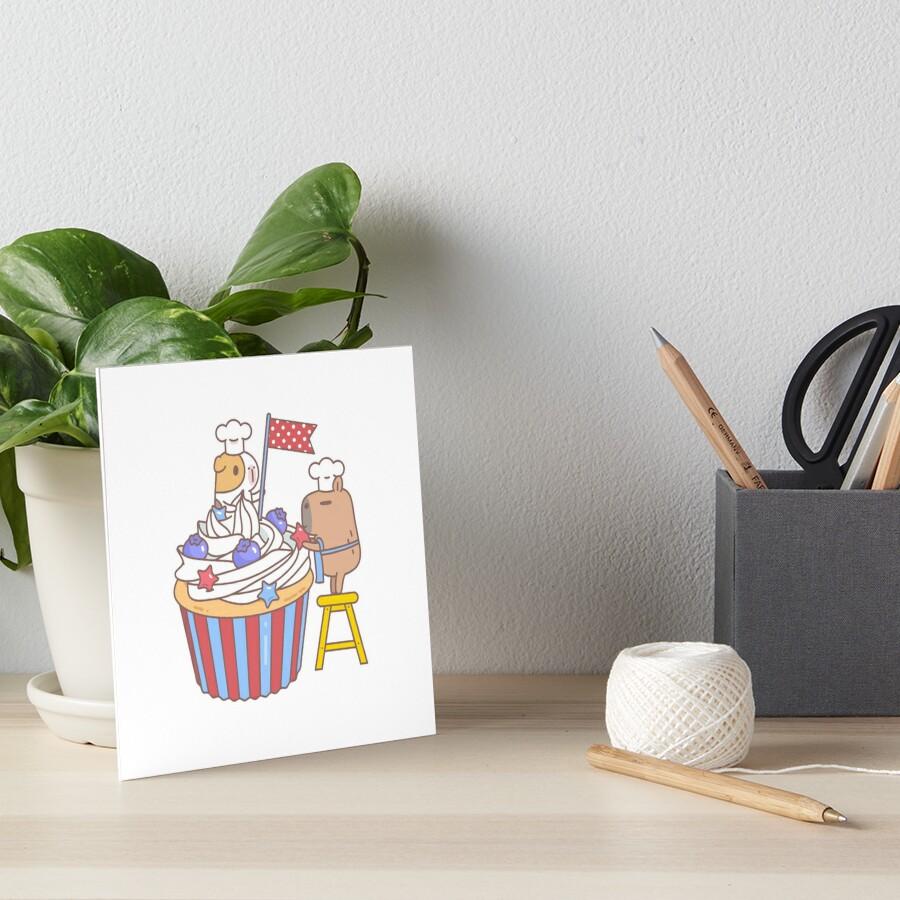 Guinea pig and capybara making a cupcake  Art Board Print