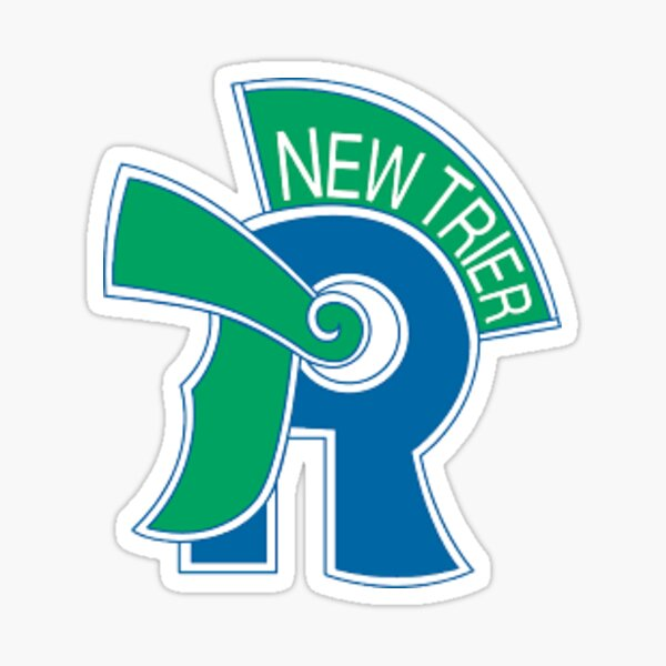 Blue and Green Faded Trevians Silohuette Macscot NT New Trier High School Normal Lettering Logo Design Sticker